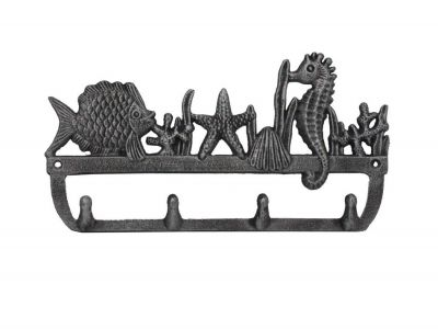 Rustic Silver Cast Iron Wall Mounted Seahorse and Fish Hooks 12""