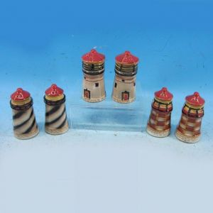 Set of 3 - Porcelain Lighthouse Salt and Pepper Shaker 4