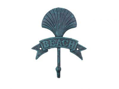 Seaworn Blue Cast Iron Seashell Beach Hook 8\