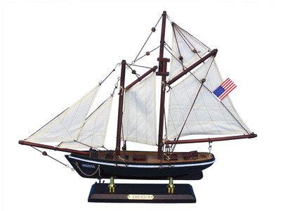 Wooden America Model Sailboat Decoration 16""