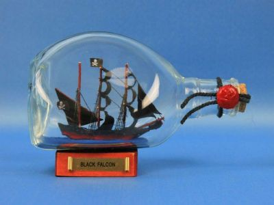 Captain Kidds Black Falcon Pirate Ship in a Bottle 7
