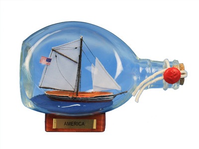 America Sailboat in a Bottle 7