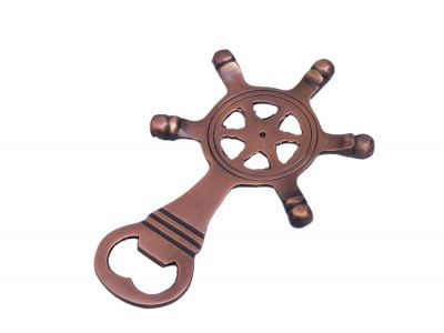 Antique Copper Ship Wheel Bottle Opener 5\