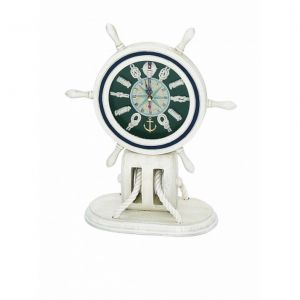 Wooden Whitewash Ship Wheel Mantel Knot Clock 13