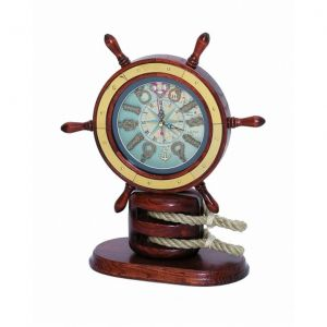 Wooden Ship Wheel Mantel Knot Clock 13