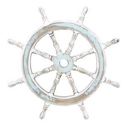 Rustic Wooden White-Light Blue Ship Wheel 24