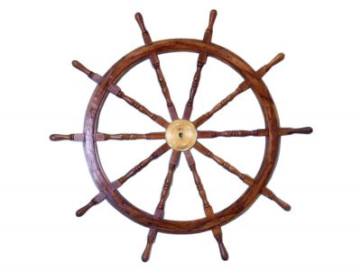 Deluxe Class Wood and Brass Ship Wheel 36