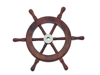 Deluxe Class Wood and Brass Decorative Ship Wheel 9\