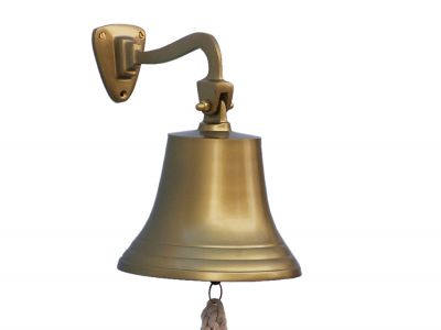 Antique Brass Hanging Ship\'s Bell 9\