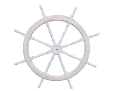 Classic Wooden Whitewashed Ship Steering Wheel 60