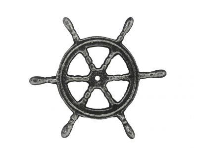 Antique Silver Cast Iron Ship Wheel Trivet 6\