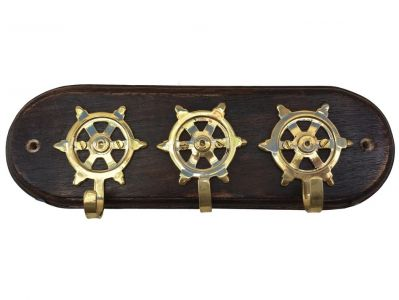 Solid Brass Three Ships Wheel Key Rack 9""