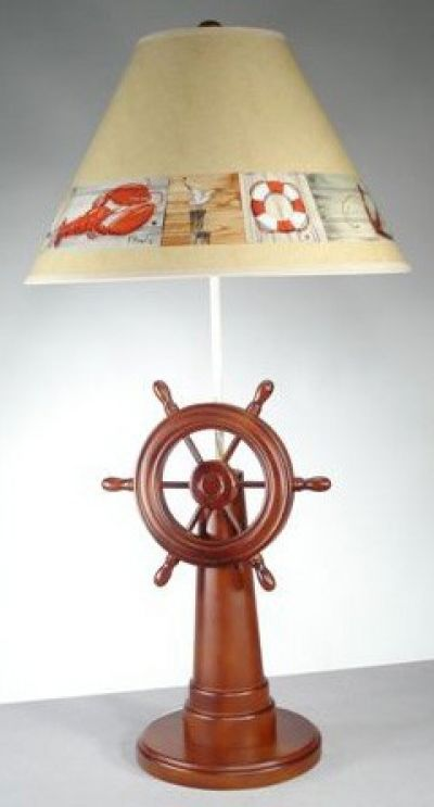 Ships Wheel Lamp with Brent Shade 32
