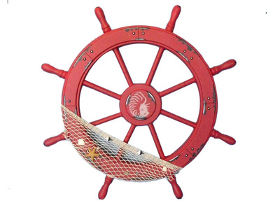 Wooden Maine Rustic Red Ship Wheel with Netting and Shells 28