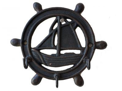 Rustic Cast Iron Ship Wheel-Sailboat Keyrack 6