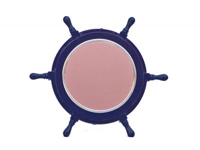 Deluxe Class Dark Blue Wood and Chrome Ship Wheel Mirror 16\