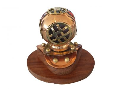 Copper Divers Helmet on Wood Base 4