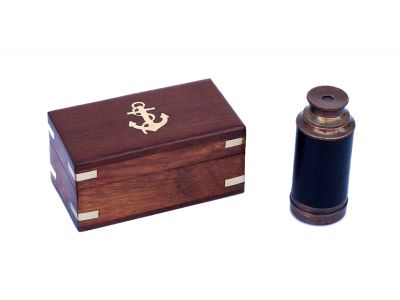 Deluxe Class Scouts Antique Copper - Leather Spyglass Telescope 7 with Rosewood Box