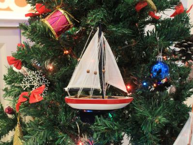 USA Sailboat Christmas Tree Ornament 9