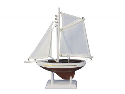 Wooden Columbia Model Sailboat Decoration 9""