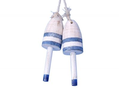 "Wooden Vintage Dark Blue Maine Decorative Lobster Trap Buoy 7"" - Set of 2"