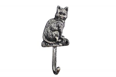 Rustic Silver Cast Iron Cat Hook 7\