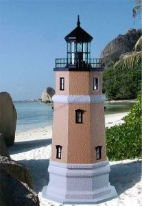 Split Rock Stucco Electric Lawn Lighthouse 60