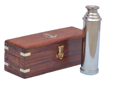 Captains Chrome Spyglass Telescope 15 w- Rosewood Box