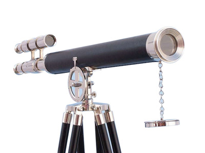 Floor Standing Chrome-Leather Griffith Astro Telescope 64 with Black Wooden Legs