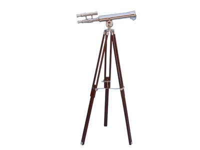 Floor Standing Chrome Griffith Astro Telescope 45 with Wood Legs
