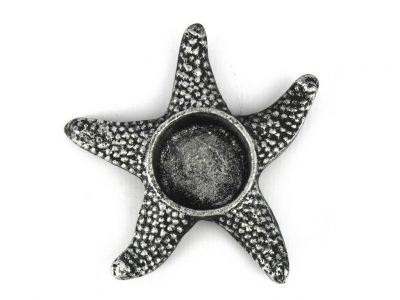 Antique Silver Cast Iron Starfish Decorative Tealight Holder 4.5""