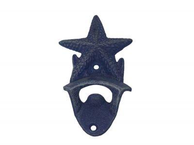"Rustic Dark Blue Cast Iron Wall Mounted Starfish Bottle Opener 6"""