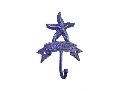 Rustic Dark Blue Cast Iron Starfish Beach Hook 8""