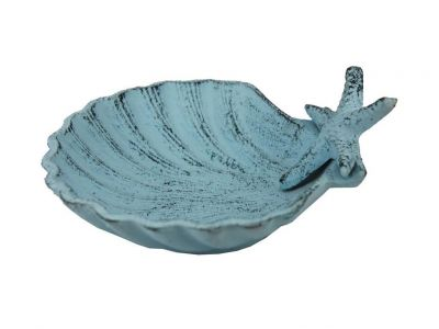 Dark Blue Whitewashed Cast Iron Shell With Starfish Decorative Bowl 6\