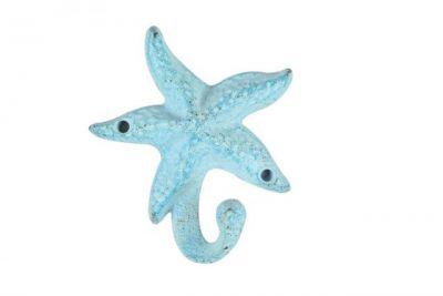 Light Blue Whitewashed Cast Iron Starfish Hook 6\