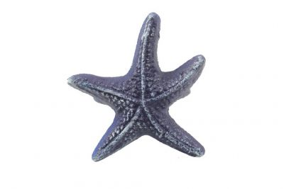 "Rustic Dark Blue Cast Iron Starfish Napkin Ring 3"" - set of 2"