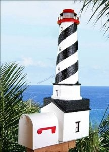 St. Augustine Solar Powered Stucco Lighthouse Mailbox 36