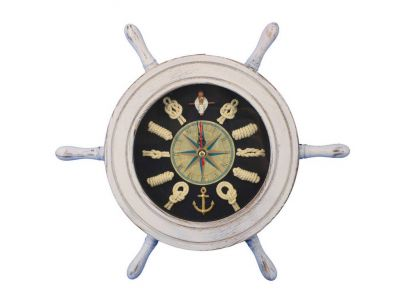 Wooden Whitewashed Ship Wheel with Dark Blue Knot Face Clock 12\