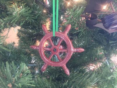 Red Whitewashed Cast Iron Ship Wheel Decorative Christmas Ornament 4\