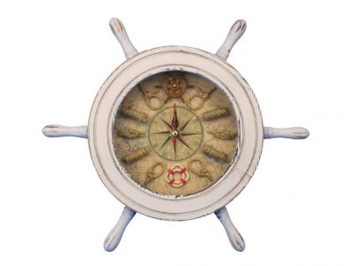 Wooden Whitewashed Ship Wheel Knot Faced Clock 12\