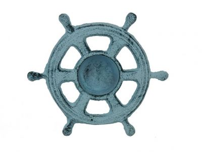 Dark Blue Whitewashed Cast Iron Ship Wheel Decorative Tealight Holder 5.5""