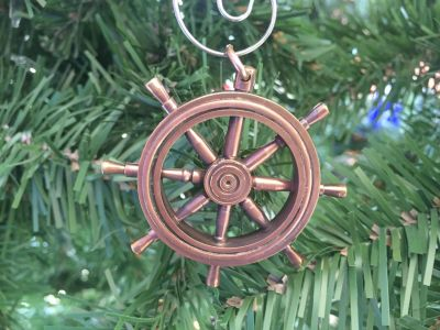 Antique Copper Ship Wheel Christmas Ornament 5\