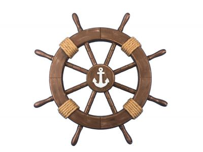Rustic Wood Finish Ship Wheel with Anchor 18