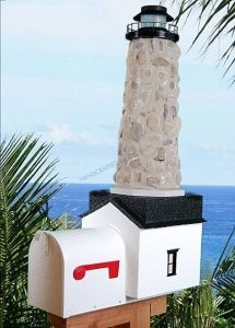 Stone Solar Powered Stone Lighthouse Mailbox 36