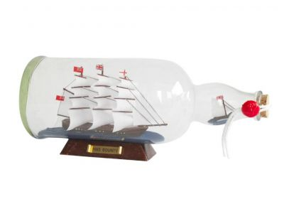 HMS Bounty Model Ship in a Glass Bottle 11""