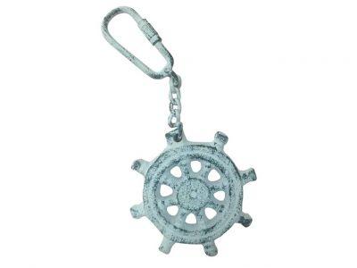 Dark Blue Whitewashed Cast Iron Ship Wheel Key Chain 5\