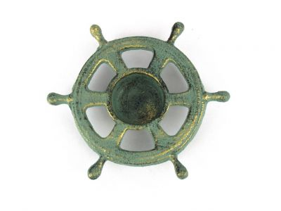 "Antique Bronze Cast Iron Ship Wheel Decorative Tealight Holder 5.5"""