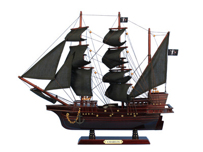 Wooden John Halsey\'s Charles Pirate Ship Model 20""