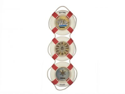 Red Triple Lifering Welcome Aboard Clock 25