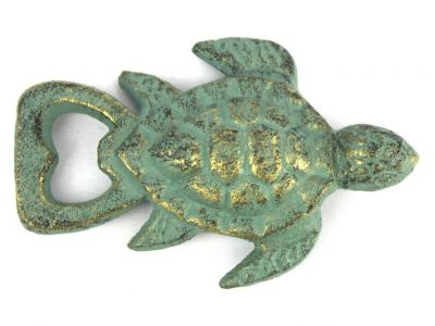 Antique Bronze Cast Iron Turtle Bottle Opener 4.5\